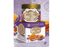 Сахарный скраб для лица и тела Лавандовый мед, 400гр